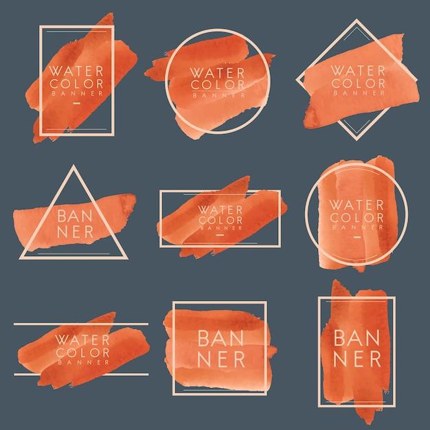 Conjunto de laranja aquarela banner design vector Vetor grátis