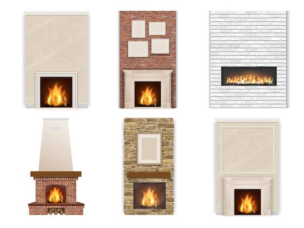 Conjunto de lareira em um fundo branco com fogo e lenha. elementos de decoração de interiores. Vetor Premium