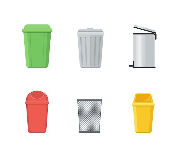 Conjunto de lata de lixo e lata de lixo Vetor Premium