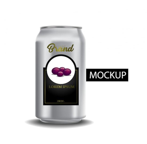 Conjunto de latas metálicas realistas para cerveja ou refrigerante. Vetor Premium