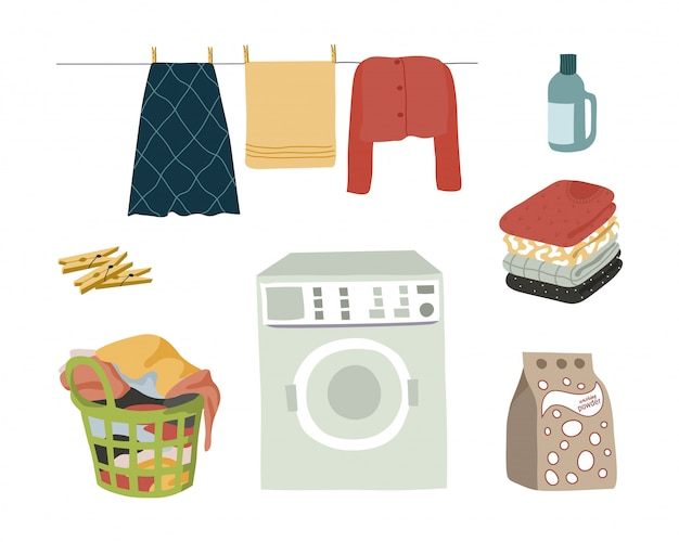 Conjunto de lavanderia elementos isolados no branco Vetor Premium