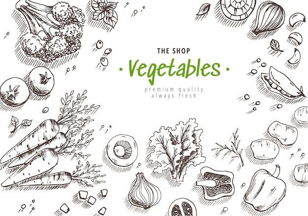 Conjunto de legumes de mão desenhada Vetor Premium