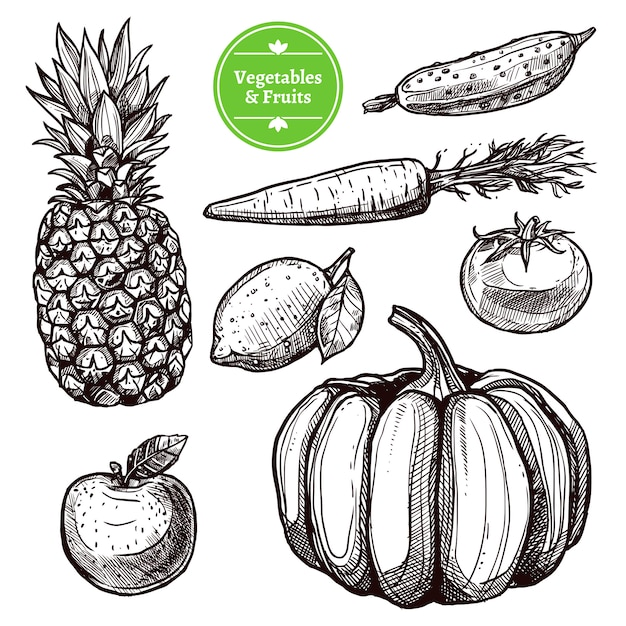 Conjunto de legumes e frutas Vetor grátis