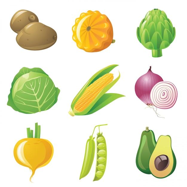 Conjunto de legumes Vetor Premium