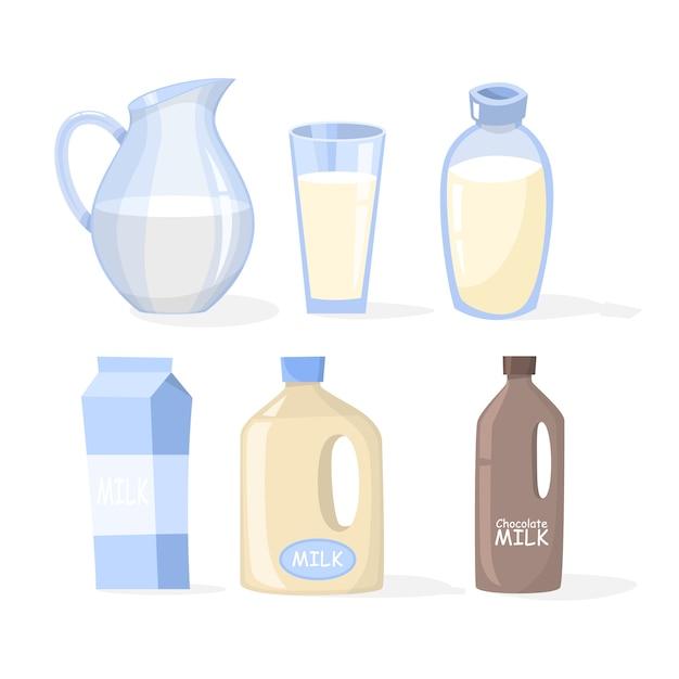 Conjunto de leite. coleta de laticínios em um copo Vetor Premium