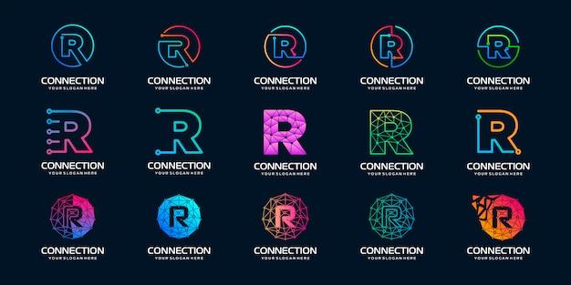 Conjunto de letra criativa r moderno logotipo de tecnologia digital. o logotipo pode ser usado para tecnologia, conexão digital, empresa elétrica. Vetor Premium