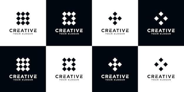 Conjunto de letra criativa x modelo de design de logotipo abstrato de monograma Vetor Premium