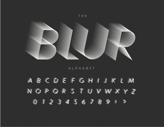 Conjunto de letras borrando letras, números e sinais. tipografia. Vetor Premium