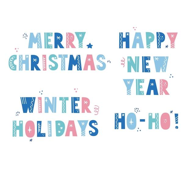 Conjunto de letras citação em estilo escandinavo com elementos de natal, estrela, floco de neve, linha. texto de férias de natal. carta de cor. Vetor Premium