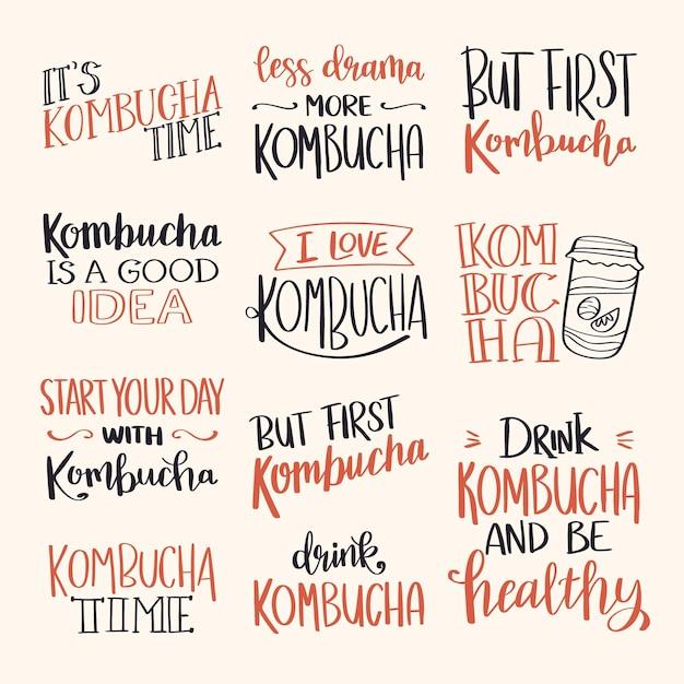 Conjunto de letras criativas de chá de kombuchá Vetor grátis
