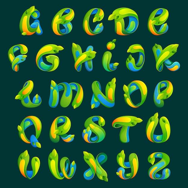 Conjunto de letras do alfabeto de ecologia com folhas. estilo de fonte, elementos de modelo de design para seu aplicativo de ecologia ou identidade corporativa. Vetor Premium
