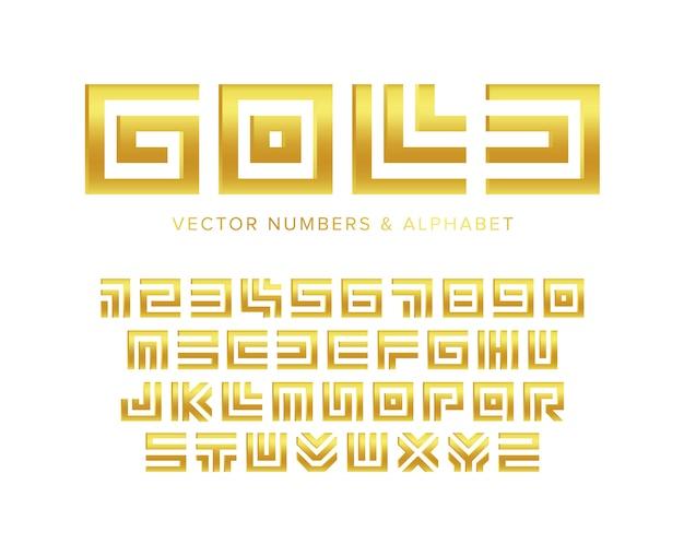 Conjunto de letras e números ouro. projeto de tipografia geométrica labirinto dourado. Vetor Premium