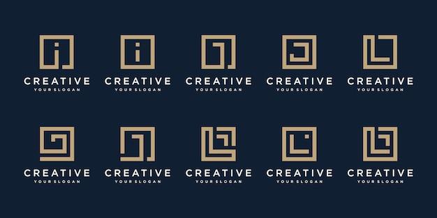 Conjunto De Letras I J E L De Design De Logotipo Com Estilo Square Vetor Premium