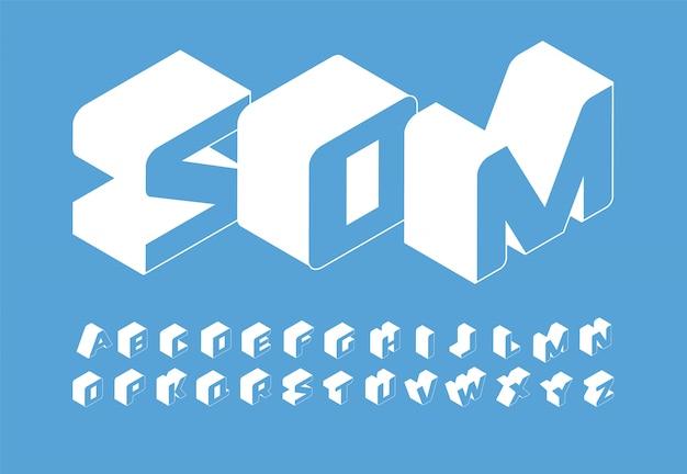 Conjunto de letras isométricas. alfabeto latino de estilo simples isométrico 3d. Vetor Premium