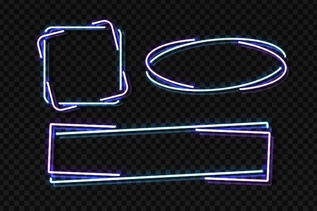 Conjunto de letreiro de néon realista de moldura para decoração e cobertura no fundo transparente. conceito de quadro indicador, boate e restaurante. Vetor Premium