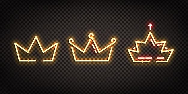 Conjunto de letreiro de néon realista do logotipo da crown para decoração e cobertura no fundo transparente. Vetor Premium