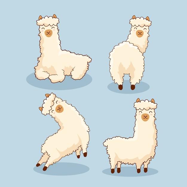 Conjunto de lhama de alpaca dos desenhos animados Vetor Premium