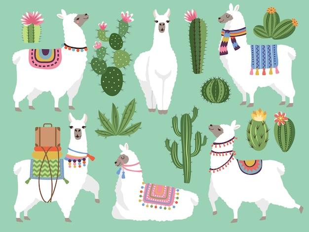 Conjunto de lhama e lã de alpaca Vetor Premium
