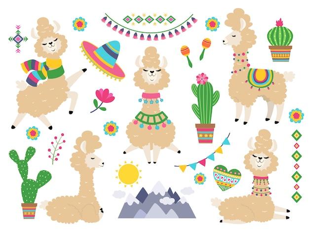 Conjunto de lhama. lhamas cartoon alpaca, lama selvagem. elementos de convite de menina Vetor Premium
