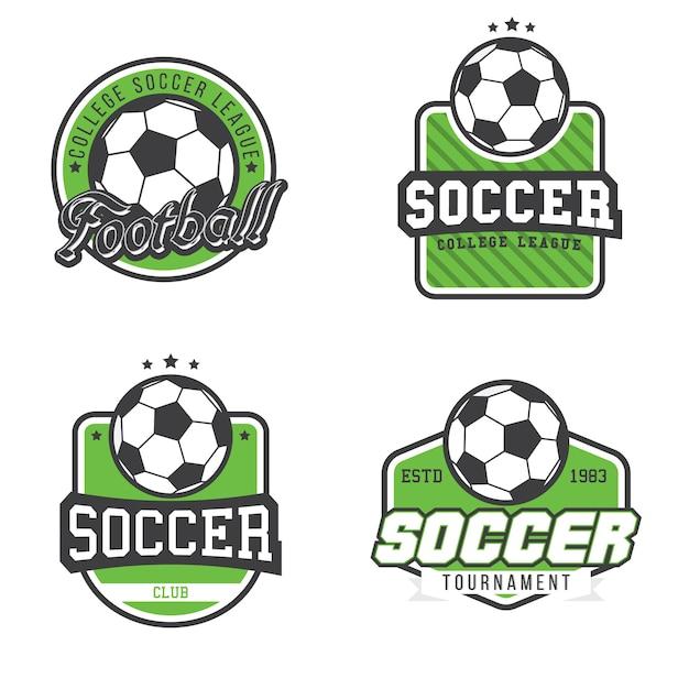 Conjunto de liga de futebol / campeonato / torneio / emblemas Vetor Premium