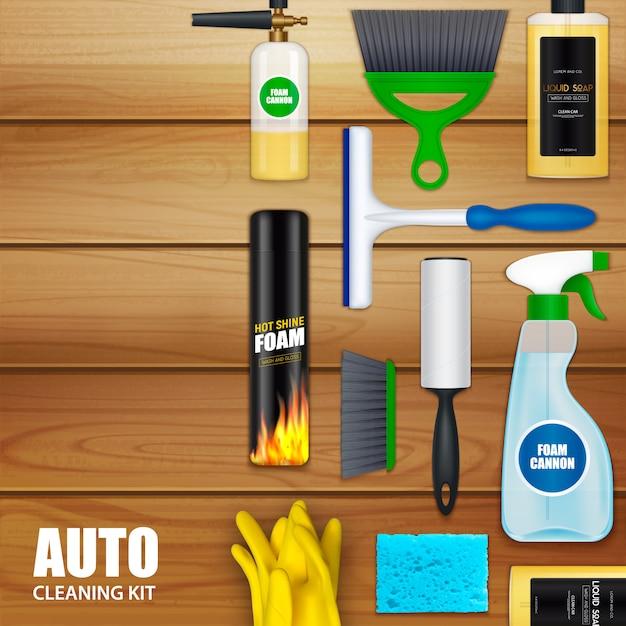 Conjunto de limpeza automática Vetor grátis
