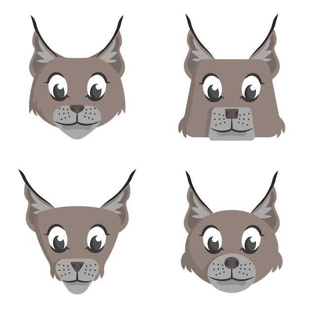 Conjunto de linces de desenho animado. diferentes formas de rostos de animais. Vetor Premium