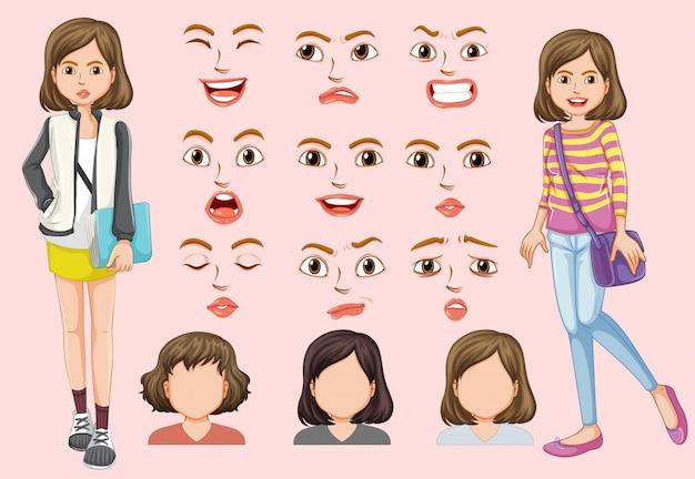 Conjunto de linda garota com expressão facial diferente Vetor Premium