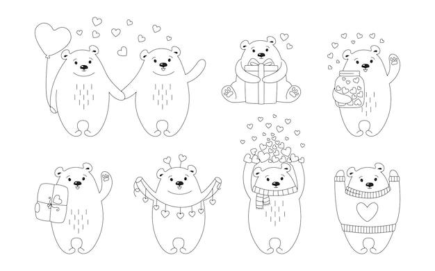 Conjunto de linha de desenhos animados de urso polar. doodle desenhado à mão personagem animal engraçado com corações, balão, presente e pacote Vetor Premium