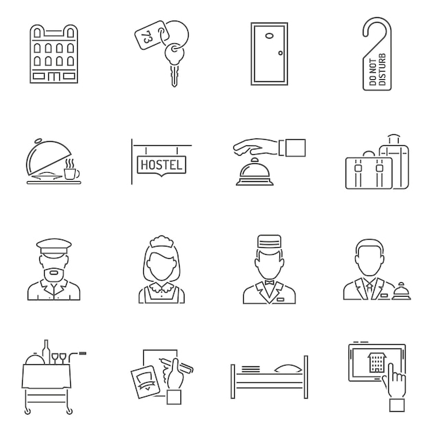 Conjunto de linha de ícones do hotel Vetor grátis
