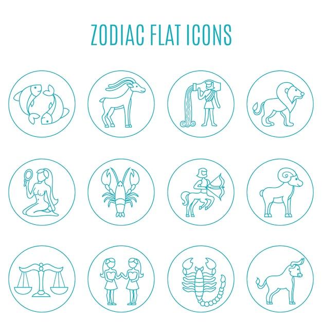 Conjunto de linha de ícones do zodíaco Vetor grátis