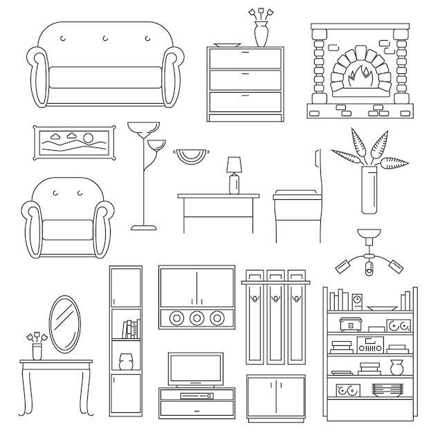 Conjunto de linha de ícones interiores Vetor grátis
