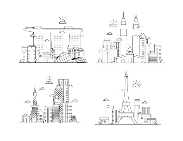 Conjunto de linha fina incrível paisagem da cidade Vetor Premium
