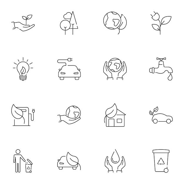 Conjunto de linha simples de ícones de ecologia. Vetor Premium