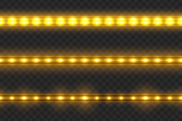 Conjunto de listras brilhantes de luz led transparentes em transparente Vetor Premium