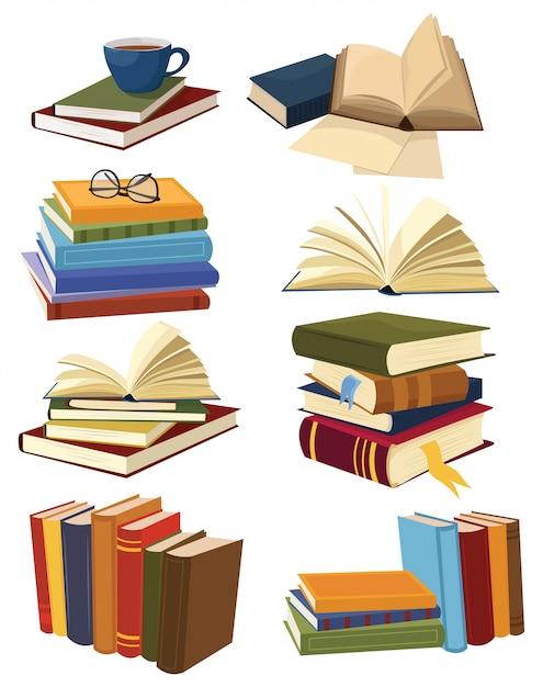 Conjunto de livros. coleção de pilhas de livros. ilustração de um livro aberto. Vetor Premium