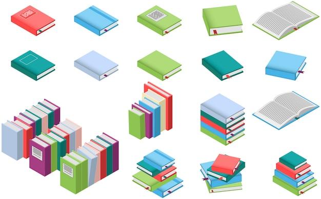 Conjunto de livros isométricos Vetor Premium