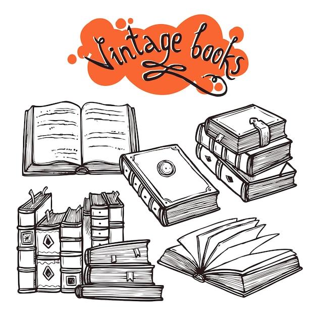 Conjunto de livros preto e branco Vetor grátis