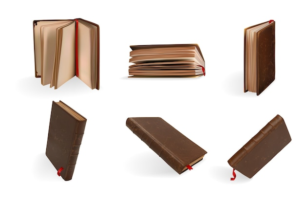 Conjunto de livros realistas. Vetor Premium