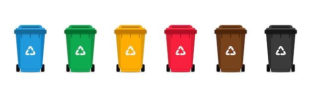 Conjunto de lixeiras. latas de lixo coloridas com ícone de reciclagem. Vetor Premium
