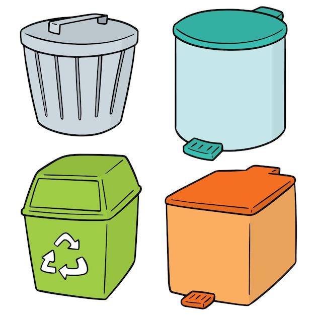 Conjunto de lixo de reciclagem Vetor Premium