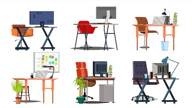 Conjunto de local de trabalho de escritório Vetor Premium