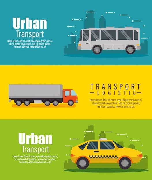 Conjunto de logística de transporte conjunto de banner de veículos Vetor grátis