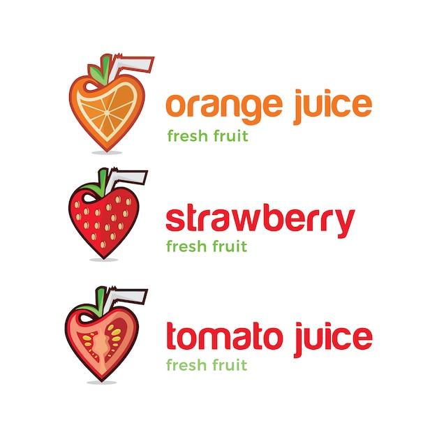 Conjunto de logoes de suco de frutas Vetor Premium