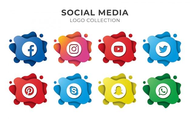 Conjunto de logotipo abstrato de mídia social Vetor Premium