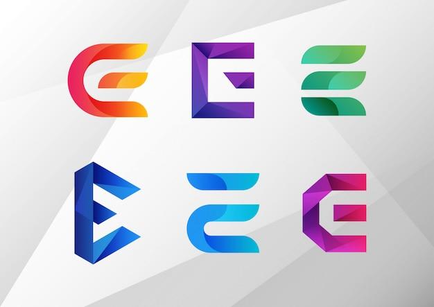 Conjunto de logotipo abstrato moderno gradiente e Vetor Premium