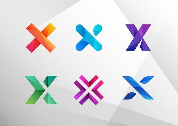 Conjunto de logotipo abstrato moderno gradiente x Vetor Premium