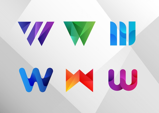 Conjunto de logotipo abstrato moderno w gradiente Vetor Premium