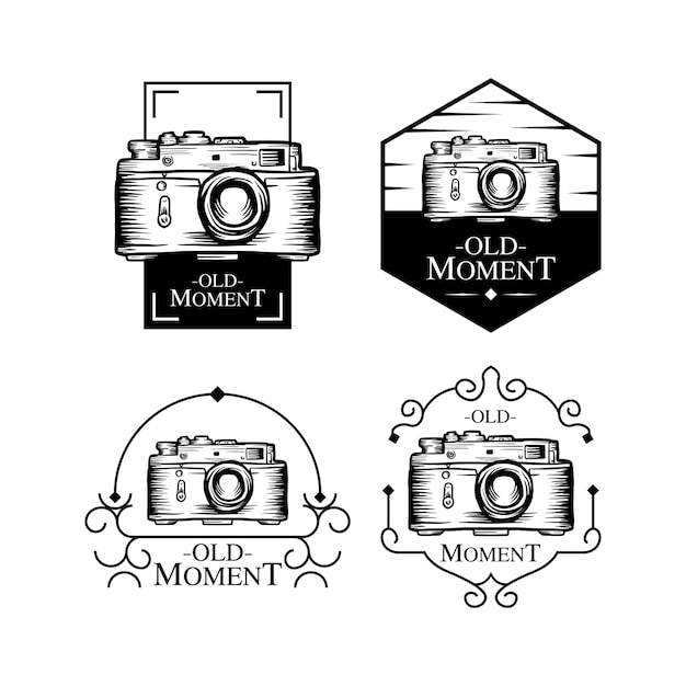Conjunto de logotipo antigo momento Vetor Premium