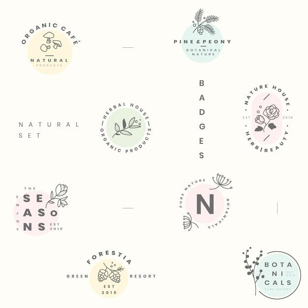 Conjunto de logotipo botânico Vetor grátis