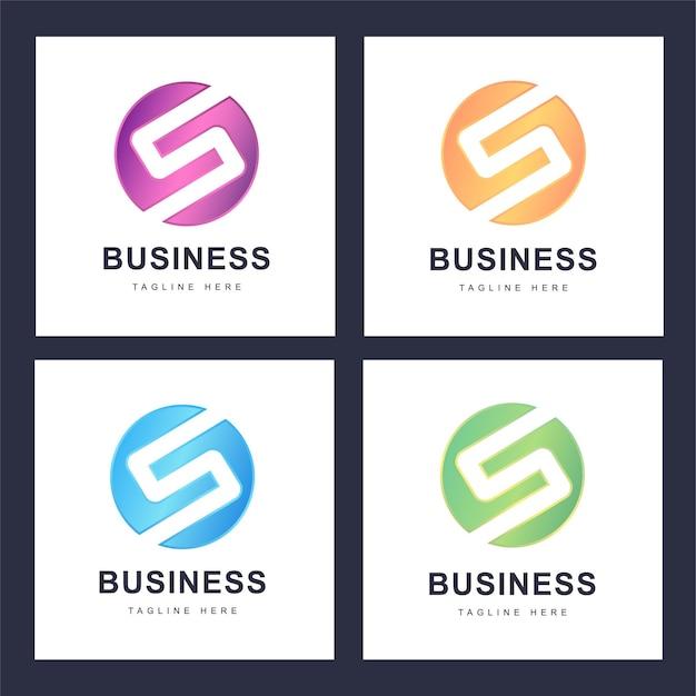 Conjunto de logotipo colorido da letra s com várias versões Vetor Premium